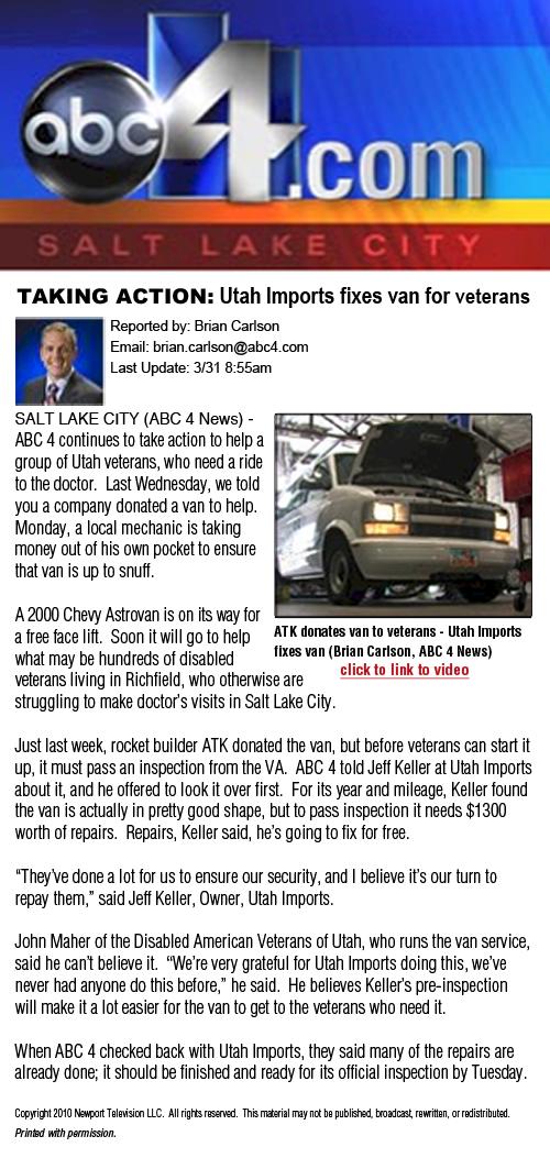 Utah Imports Vans for Veterans